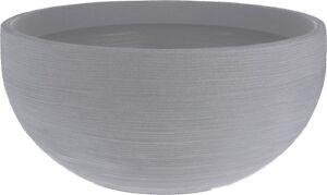 Extra Large Ribbed Light Grey Round Bowl Planter Plant Pot 58cm Wide