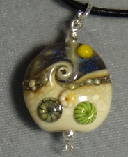 beach glass necklace pendant  sterling silver nautical #39