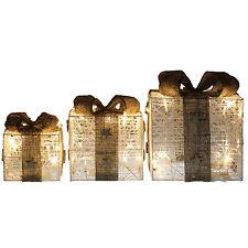 Set di 3 Oro Bianco LED accendere Regalo di Natale Regali di Natale decorazione pacchi