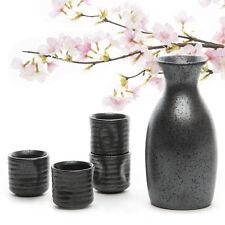 5 x Japanese Matt Black Ceramic  Sake Set Wine Bottle Cups Handmade Porcelain