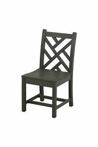 POLYWOOD CDD100-GY Chippendale Dining Side Chair in Slate Grey NEW