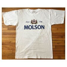 Vintage 90s Molson Canadian Tee T Shirt Sz XL White Beer Deadstock Single Stitch