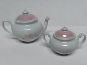 Vintage Baby Doll / Dollie Porcelain Tea Pot & Sugar Bowl Set Pink Flowers