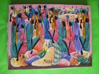 Marché Haitien - Huile sur toile - 40 x 31 cm - Signée Milhae -
