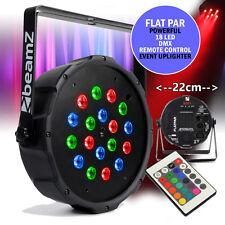 Beamz Flat Slim PAR 18 LED RGB DMX UPLIGHTER Remote Light Mobile DJ Bar Lighting