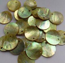 20 Iridescent Flat Shell Beads. Yellow-Green 15mm. Sew/Bead/Embellish/Crafts