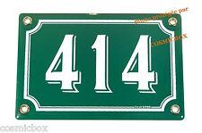 Plaque émaillée NUMERO de RUE 414 vert & blanc émail enamel plate street number