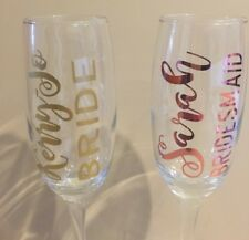 Personalised Vinyl Stickers for Champagne Glasses/Flutes/Bride/Bridesmaid Gift