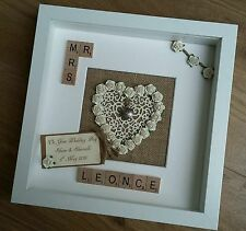 25th Silver Wedding Anniversary keepsake personalised scrabble tile rustic Gift