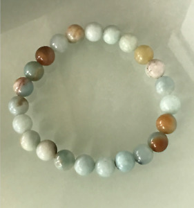 UK Protection Anxiety Stress Relief Amazonite Healing Crystal Bead Bracelet Calm