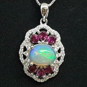 4.25ctw Opal, Rhodolite Garnet & Diamond Cut White Sapphire 925 Silver Pendant