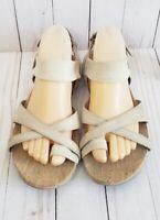 AHNU Sananda Sandals Thongs Womens Sz 8 Beige STONE 1010858 Cork Insole Elastic