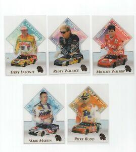 1997 Press Pass Nascar Clear Cut Acetate Insert Set - 10 Cards