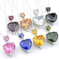 Wedding Heart 8pcs Set Peridot Garnet Topaz Citrine Gems Silver Pendant Necklace