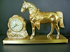 Vintage United Clock Horse On Base For Mantle-Shelf-Tabletop In Gold Tone. Works
