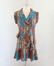 Nanette Lepore Green Blue Tie Dye Print Ruffle Drop Waist Silk Dress Size 2