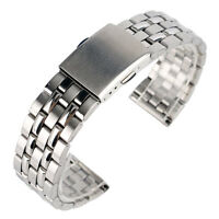 18/20mm Silver Stainless Steel Solid Link Fold Clasp Watch Band Wrist Strap Men