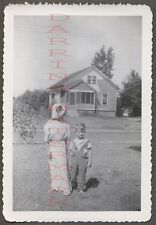 Unusual Vintage Photo Cute Boy w/ Girl in Underwear Headdress 662517