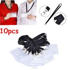 10pcs White Plastic ID Badge Card Holder & Black Long Neck Strap Band Lanyard