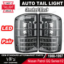 Pair of LED Tail Lights For Nissan Patrol GQ Series 1/2 Smoked Black 1988-1997