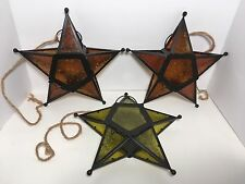3 Hanging Green Gold Glass Metal Five Pointed Star Candle Lantern Holder