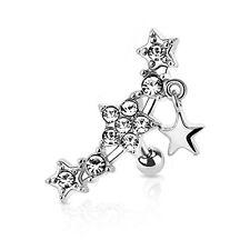 Clear Gem Trio Falling Stars Tragus Cartilage Earring 16G Gauge Jewelry Piercing