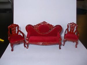 Dolls House Miniatures 1 : 16th Scale  3 Piece  Red Velvet Upholstered Sofa Set.
