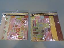 2 SETS 12 x 12 PAPERS AND EMBELLISHMENT KIT RETRO by PAPERMANIA