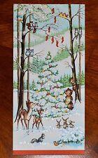 Vintage UNUSED Christmas Card GLITTER DEER BEAR WOODLAND ANIMALS TREE MidCentury