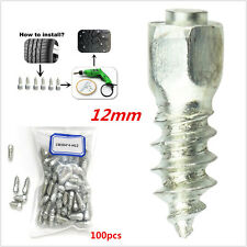 100pcs Universal 12mm Screw Tire Stud Snow Spikes  Wheel Tyres Snow Chains Studs