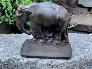Antique Numbered  Cast Iron  ELEPHANT Doorstop / Bookend