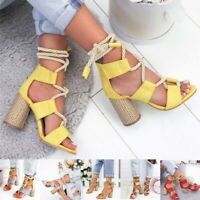 Women Block High Heels Ankle Strapped Sandals Ladies Comfy Lace Up Party Shoes