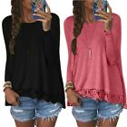Women Ladies Sexy Long Sleeve Blouse Loose Casual T-Shirts Tops S M L XL 2XL 3XL