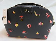 FOSSIL Black Multi Color PVC Coated Canvas Zip Cosmetic Make-up Case SL6822016