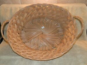 Vtg. Large Wicker Round Basket With Handles Made in the Philippines