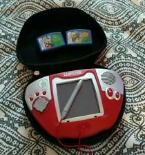 Leap Frog Leapster Learning Game System w/2 Game Cartridge & red travel case EUC