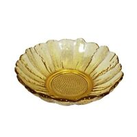 """Vintage Anchor Hocking Country Garden Honey Gold Glass Bowls 6.5"""" Embossed 6"""
