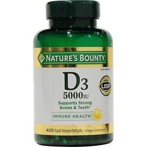 400 Softgels Nature's Bounty D3 125 mcg - 5000 IU Supports Strong Bones & Teeth