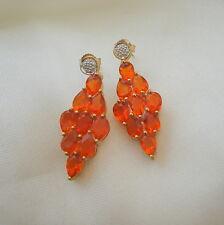 3.89ct Mexican Fire Opal & Diamond Gold Cluster Drop Earrings