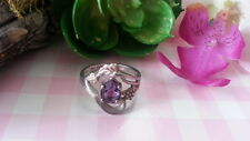 Beautiful Purple CZ Grapes Leaves  Ring 925 Sterling Silver *Size 6.5 *C111