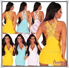 Sexy Women's Embroidered Mini Dress Ladies Mini Dress + Chain One Size 6,8,10 UK