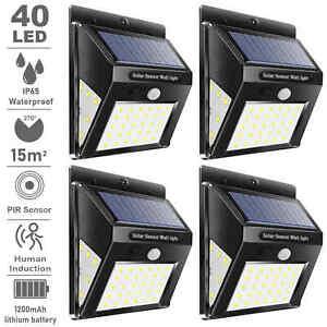 4X LED Solar Power PIR Motion Sensor Wall Lights Outdoor Garden Security Lamp
