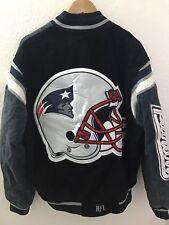 NEW ENGLAND PATRIOTS NFL Suede Varsity Jacket Big Patch Football Brady Black