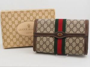 【Rank AB】GUCCI Vintage Pouch Clutch Bag Sherry Line GG Pattern PVC Brown A111