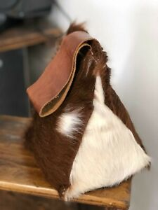 Cow hide fur leather door stop  BROWN AND WHITE  - Hand Made in Cambridgeshire.