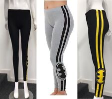 Women Batman print leggings Black Yellow stripe print