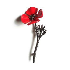 ZARD Large Poppy Flower Brooch Lapel Badge Pin in Red Enamel