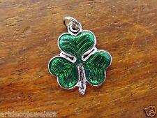 Vintage silver IRELAND SHAMROCK THREE LEAF CLOVER LUCK IRISH BRACELET charm #F