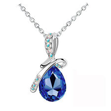 Amazing Royal Blue Women Pear Crystal Stone Teardrop Bow Knot Necklace