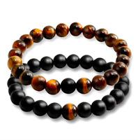 2 Bracelets Femme,Homme,Ésotériques Puissantes Stress,Pierres Oeil de Tigre,Onyx